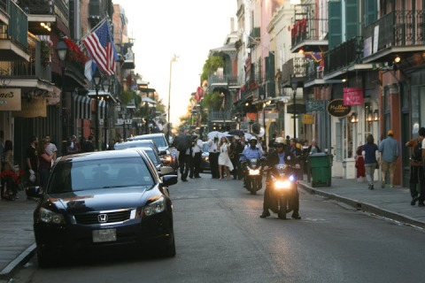 Mini-parade in the French Quarter