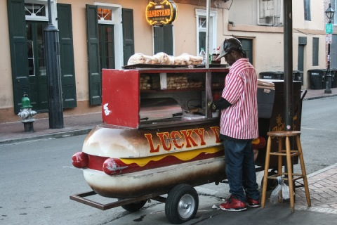 Lucky Dog vendor, with flashbacks to A Confederacy of Dunces