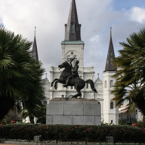 St. Louis Cathedral at the end of Jackson Square