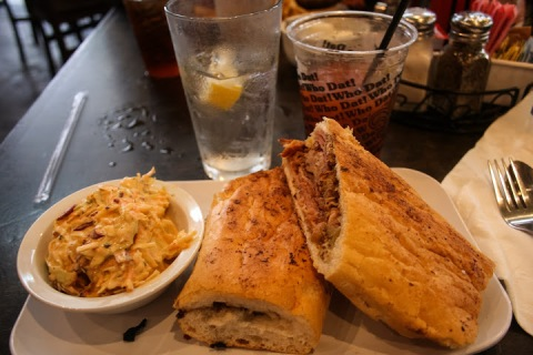 Our last meal in New Orleans was lunch at the Ruby Slipper -- I ordered a pulled pork sandwich with cole slaw.