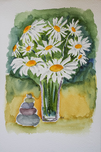 Watercolor painting of daisies with rock pile