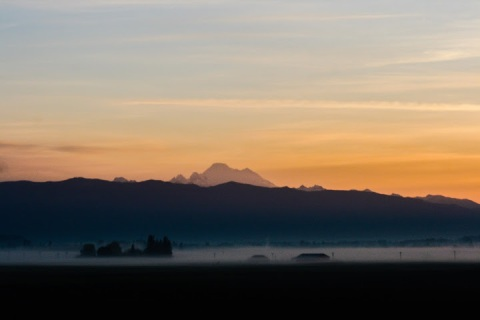 Daybreak with fog, Skagit Valley, Washington