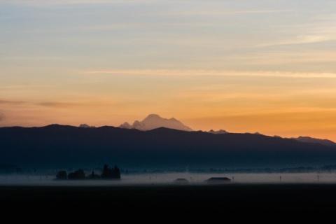 Daybreak with fog, Skagit Valley, Washington