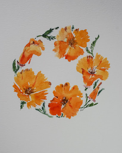 Watercolor painting of California poppies