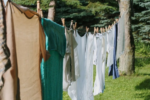Line-drying clothes