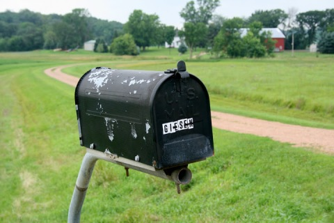 The mailbox at the end of our long driveway