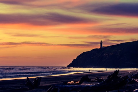 North Head Lighthouse at sunset, Cape Disappointment State Park