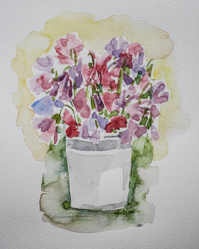 Watercolor sketch of a bucket of sweet peas