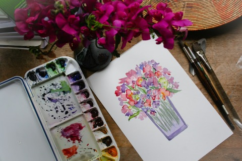 Another watercolor painting of sweet peas