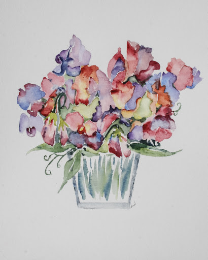 Watercolor painting of sweet peas