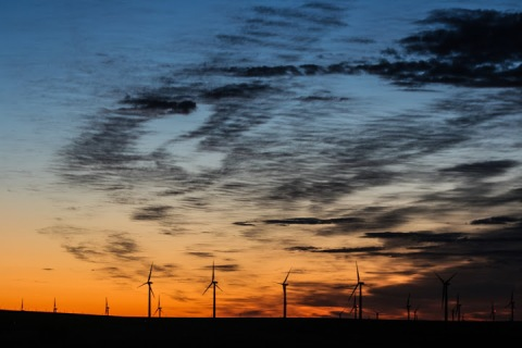 Wind turbines in the dawn light