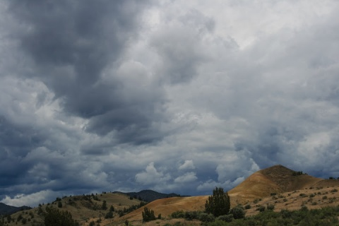 Dramatic skies above the Painted Hills
