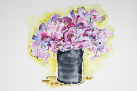 Bucket of sweet peas