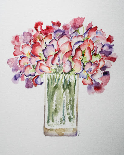 Latest watercolor sketch of sweet pea bouquet