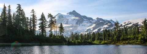 Mount Shuksan seen from the shores of Picture Lake