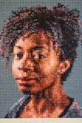 Portrait made of tiny colored dots