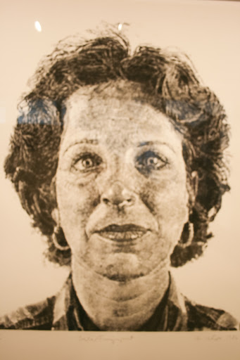 This portrait of Lesley was composed of inked fingerprints.