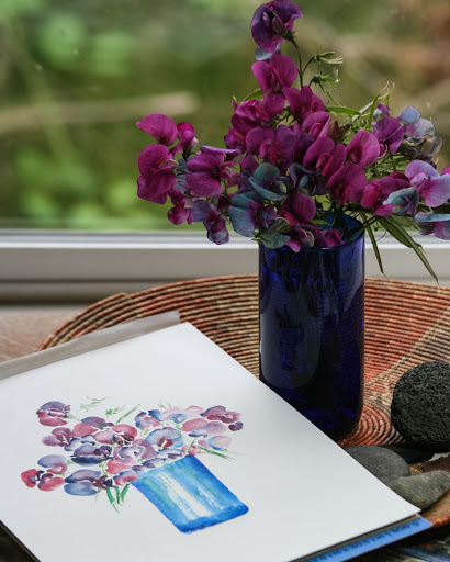 Wild sweet pea bouquet and painting