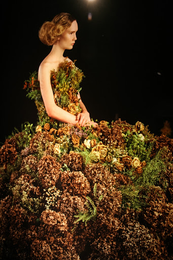 Deep in Thought, 2012 by Nathalia Edenmont, Force of Nature exhibit.  Dress made with dried hydrangeas.