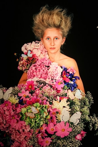 Consciousness, 2012 by Nathalia Edenmont, Force of Nature exhibit.  Pink hydrangeas on shoulder strap.