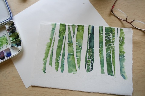 I started my next watercolor painting of tree trunks by coloring in the negative space between the trees.