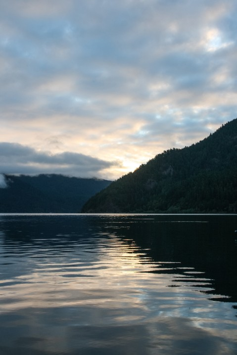 Sunrise from the dock at Nature Bridge, Lake Crescent