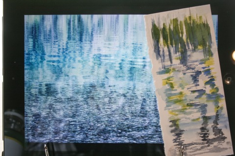 My attempt at painting the ripples in the lake