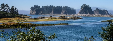 Sol Duc River at its mouth on the Pacific Ocean