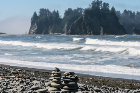 Rock cairns on the Rialto Beach