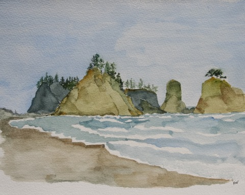 Watercolor painting of sea stacks at Rialto Beach
