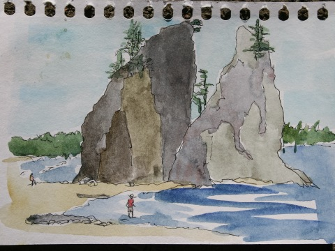 Ink and watercolor sketch of sea stacks