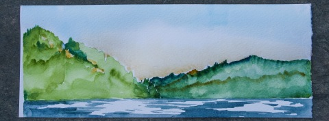 Watercolor sketch of view from the dock