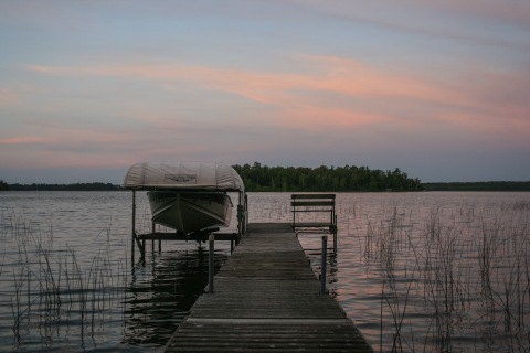 Boat dock on Big Turtle Lake in northern Minnesota