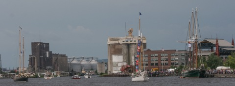 Duluth's waterfront, with grain elevators