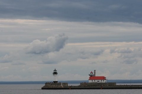 Entrance to the Duluth Ship Canal (the red-roofed building is on the Wisconsin side)