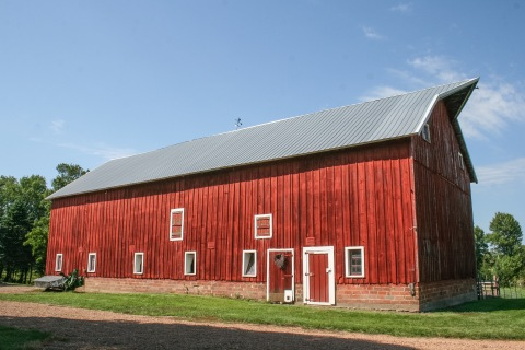 The old red barn on the farm where I grew up
