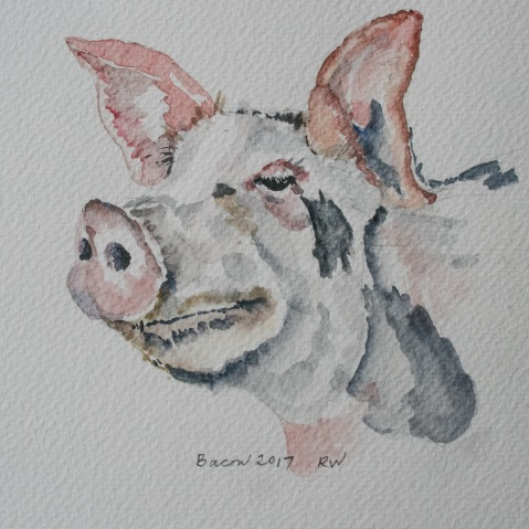 "My sister-in-law titled this watercolor sketch ""Bacon 2017"""
