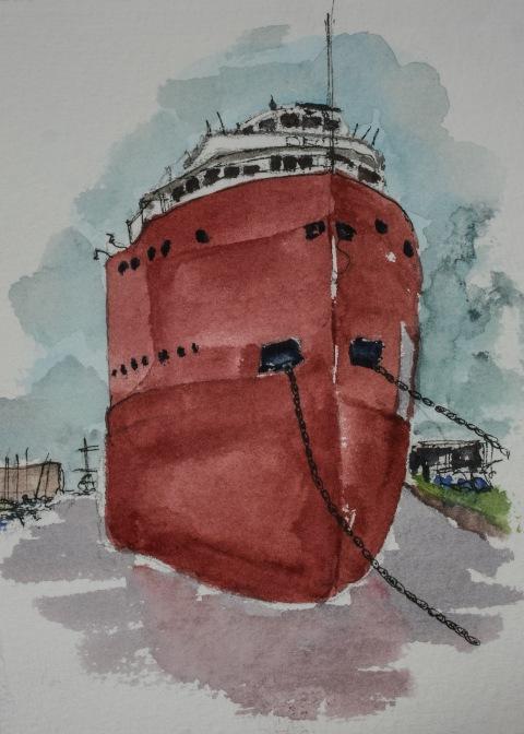 Watercolor sketch of tanker docked in Duluth