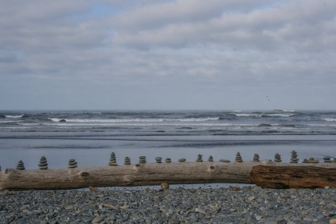 Rows of rock cairns, Ruby Beach, Olympic National Park