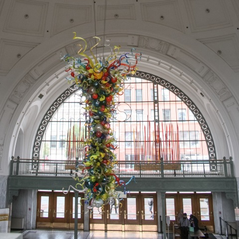 Chihuly glass chandelier in Union Station, Tacoma