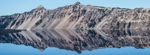 Reflections at the edges of Crater Lake