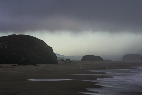 Evening arrival in Bandon, Oregon -- fog banks and gray