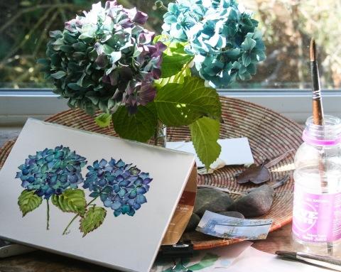Painting hydrangeas