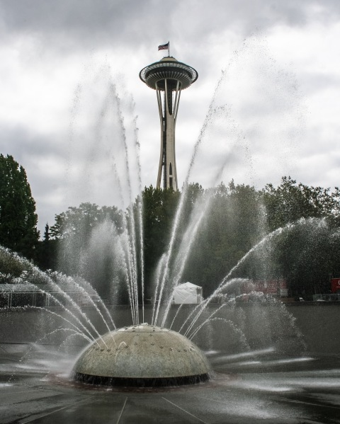 Space Needle from the fountain at the Seattle Center