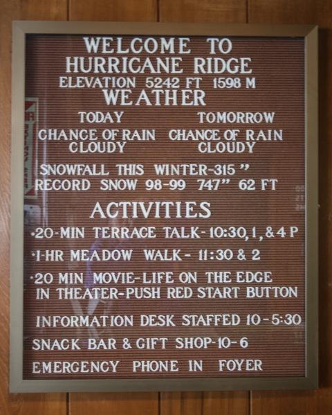 Sign at the Hurricane Ridge Visitors' Center
