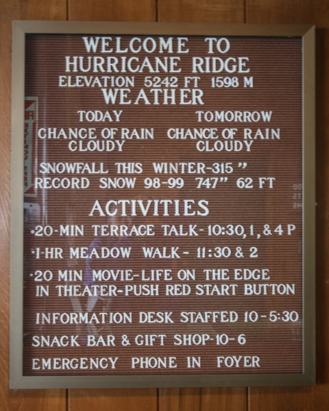 Sign at the Hurricane Ridge Visitors' Center