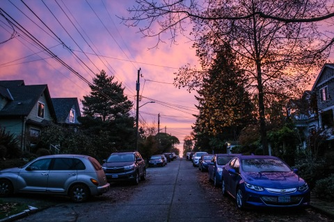 Nearing sunrise on my street