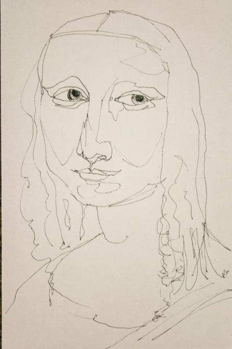 Mona Lisa, contour-line drawing
