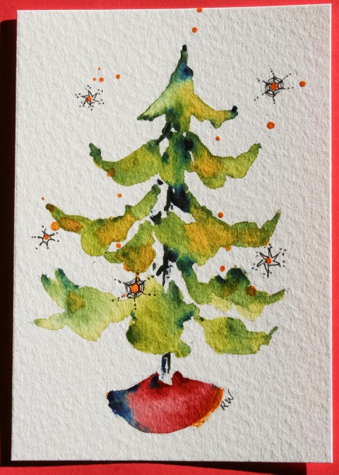 Watercolor painting of Christmas tree