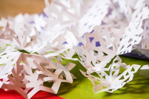Cut paper snowflakes
